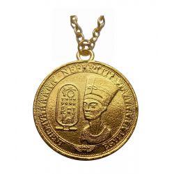 """Jolie Médaille de Néfertiti qui signifie""""La Belle est venue"""" avec au verso une représentation d'Isis avec chaîne"""