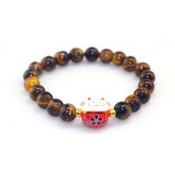 Bracelet Japonais Maneki Neko (招き猫) Porte Bonheur Perles Naturelles veinées Blanches (18 cm réglable)