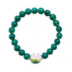 Bracelet Japonais Porte Bonheur Maneki Neko Perles Naturelles en Agate Verte (18 cm Extensible pour Passage Main)