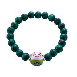 Bracelet Japonais Porte Bonheur Maneki Neko Perles Naturelles Vert Malachite (18 cm Extensible pour Passage Main)