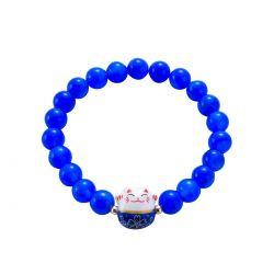 Bracelet Japonais Porte Bonheur Maneki Neko Perles Agate Bleues (18 cm Extensible pour Passage Main)
