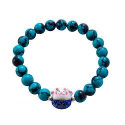 Bracelet Japonais Porte Bonheur Maneki Neko Perles Agate Turquoise Fleurs Noires (18 cm Extensible pour Passage Main)