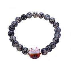 Bracelet Japonais Porte Bonheur Maneki Neko Perles Naturelles en Agate Fleurs Noires (18 cm Extensible pour Passage Main)