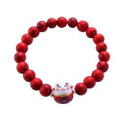Bracelet Japonais Porte Bonheur Maneki Neko Perles Naturelles Marbrés Rouges (18 cm Extensible pour Passage Main)