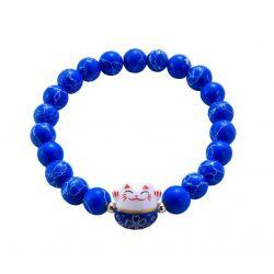 Bracelet Japonais Porte Bonheur Maneki Neko Perles Naturelles Bleues Marbrées Blanches (18 cm Extensible pour Passage Main)