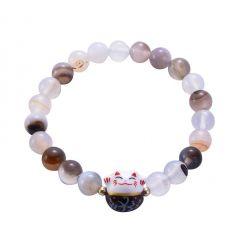 Bracelet Japonais Porte Bonheur Maneki Neko Perles Naturelles en Agate Café (18 cm Extensible pour Passage Main)