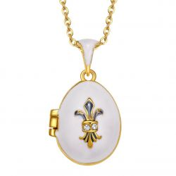 """Pendentif Ouef Style Oeuf de Fabergé Blanc """"Fleur de Lys"""" Ouvrant avec Charm"""