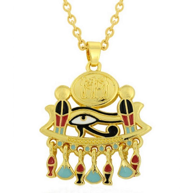 Pendentif Emaillé Plaqué Or Cobra Oeil d'horus et sa Chaîne
