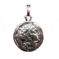 Pendentif Bijou Grec Alexandre Le Grand en Argent Lion Surmontée d'un Trident au Verso