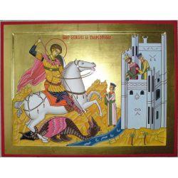 Pendentif Russe Orthodoxe en forme de Blason de Saint Georges Terrassant le Dragon